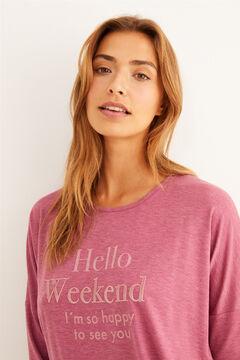 "Womensecret Long pink ""Hello Weekend!"" pyjama pink"
