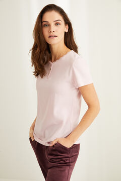 Womensecret Pink cotton lace Henley t-shirt pink
