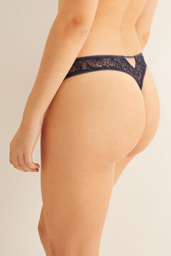 Womensecret Blue flocked tulle tanga blue