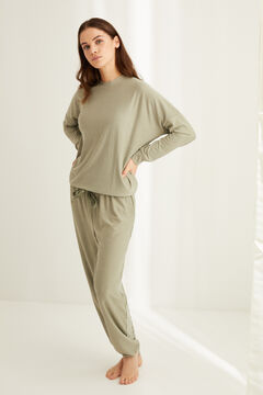 Womensecret Long super soft striped pyjamas in green printed