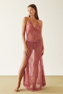 Womensecret Long pink lace nightgown pink