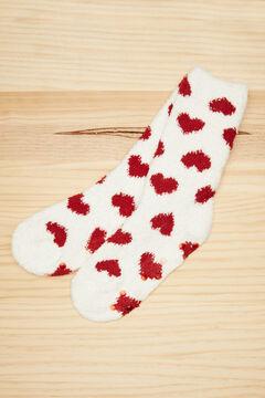 Womensecret Fluffy ivory hearts socks red