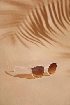 Womensecret Round sunglasses with a gold case white