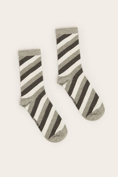 Womensecret Long diagonal striped socks grey