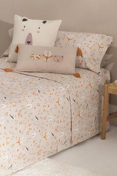 Womensecret Set sábana y funda almohada niños algodón percal animales. Cama 80-90cm. gris