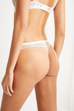 Womensecret White lace slogan detail tanga white