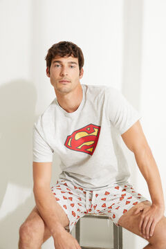 Womensecret Grey Superman short pyjamas with short sleeves grey