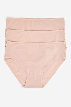 Womensecret Lot de 3 culottes en microfibre nude