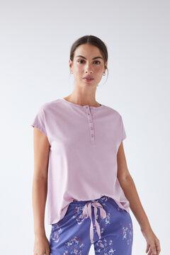 Womensecret Lilac cotton short-sleeved Henley T-shirt pink