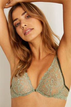 Womensecret PRETTY Green lace halter bra beige