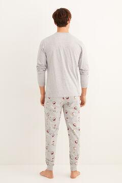 Womensecret Karácsonyi Mickey mintás, téli hosszú pizsama szürke