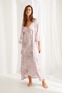 Womensecret Long wrap-style robe in pink floral print satin with belt pink