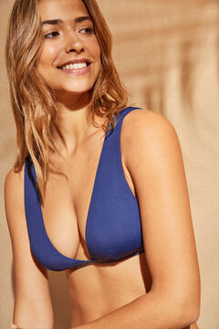 Womensecret Haut de bikini dos nu brillant bleu bleu