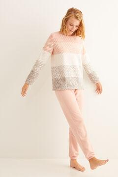 Womensecret Pyjama long animal print rayures rose