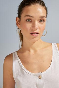 Womensecret T-shirt bretelles 100 % coton blanc beige