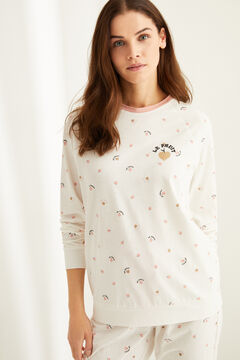 "Womensecret Long cotton ""Le Fruit"" pyjamas white"