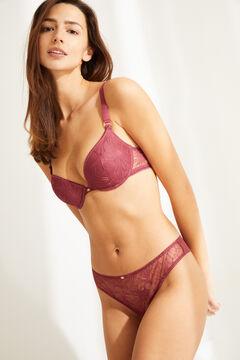 Womensecret Braguita brasileña encaje y tul rosa rosa