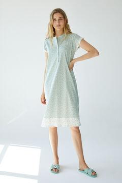 Womensecret Green mini leaves cotton midi nightgown green