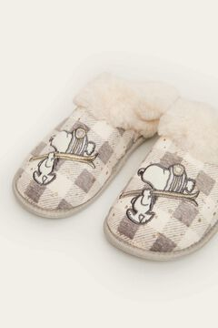 Womensecret Snoopy teddy fur mule slipper grey