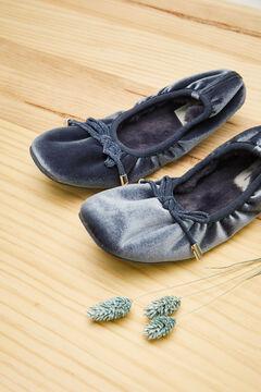 Womensecret Zapatillas bailarina velour azul azul