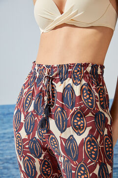 Womensecret Pantalón largo fluido tropical blanco