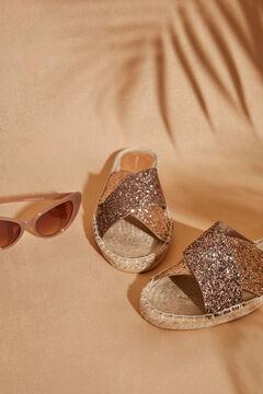Womensecret  Sandálias rasas cruzadas ráfia dourada  beige