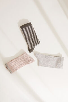 Womensecret Pack of 3 long printed socks grey