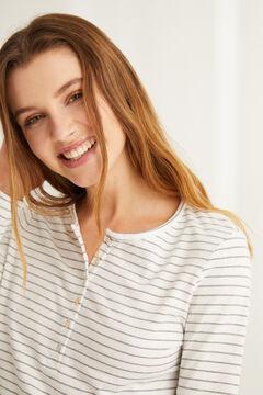 Womensecret Camiseta panadera manga larga rayas algodón estampado