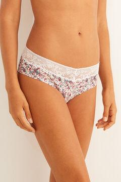 Womensecret Breiter Slip Baumwolle mit Spitze Blumen Weiß