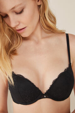 Womensecret Mesh and lace push-up bra black