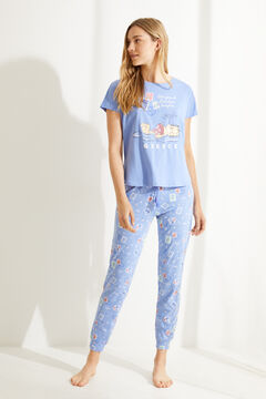 Womensecret Long blue Garfield 100% cotton short-sleeved pyjamas blue
