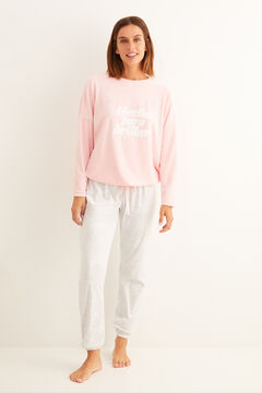 Womensecret Long velour pyjamas pink