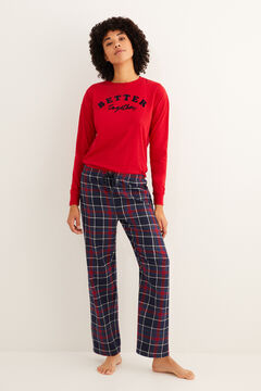 Womensecret Long navy checked print pyjama bottoms printed