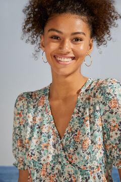 Womensecret Sustainable floral flounced short dress green