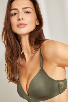 Womensecret LOVELY Sujetador triangular microfibra y encaje verde beige