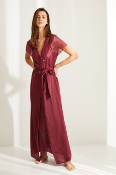 Womensecret Maroon short-sleeved robe with lace and belt printed