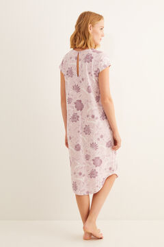 Womensecret Short-sleeved midi nightgown with floral print in pink pink