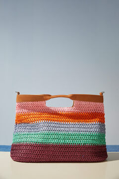 Womensecret Multicoloured striped bag white