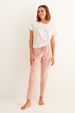Womensecret Calças compridas de pijama estampadas rosas rosa