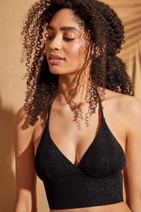 Womensecret Shiny bralette bikini top  black