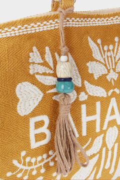 Womensecret Bahamas textured raffia shopper bag printed