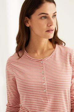 Womensecret Camiseta panadera manga larga rayas algodón rosa estampado