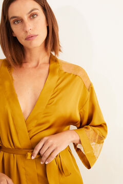 Womensecret Mustard satin and lace robe printed