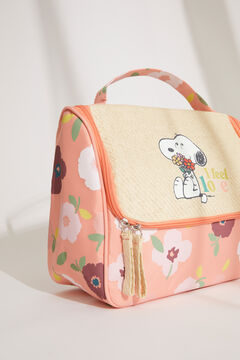 Womensecret Large floral Snoopy briefcase-style vanity case brown
