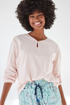 Womensecret Pink cotton long-sleeved top pink
