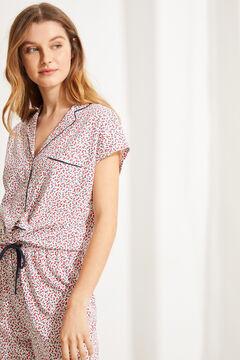 Womensecret Pijama camisero algodón flores blanco