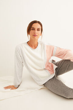 Womensecret Long-sleeved velour colour block sweatshirt white