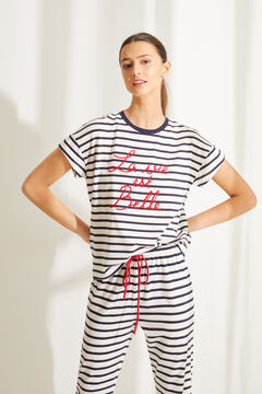 Womensecret Long striped organic cotton pyjamas blue