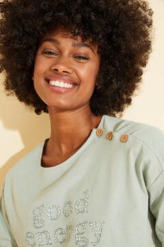 Womensecret Long green floral cotton pyjamas green
