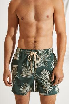 Womensecret Maillot de bain court masculin imprimé palmiers vert